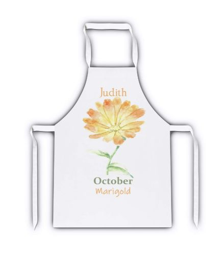 Personalised Flower of The Month  Novelty Gift White Adult Apron
